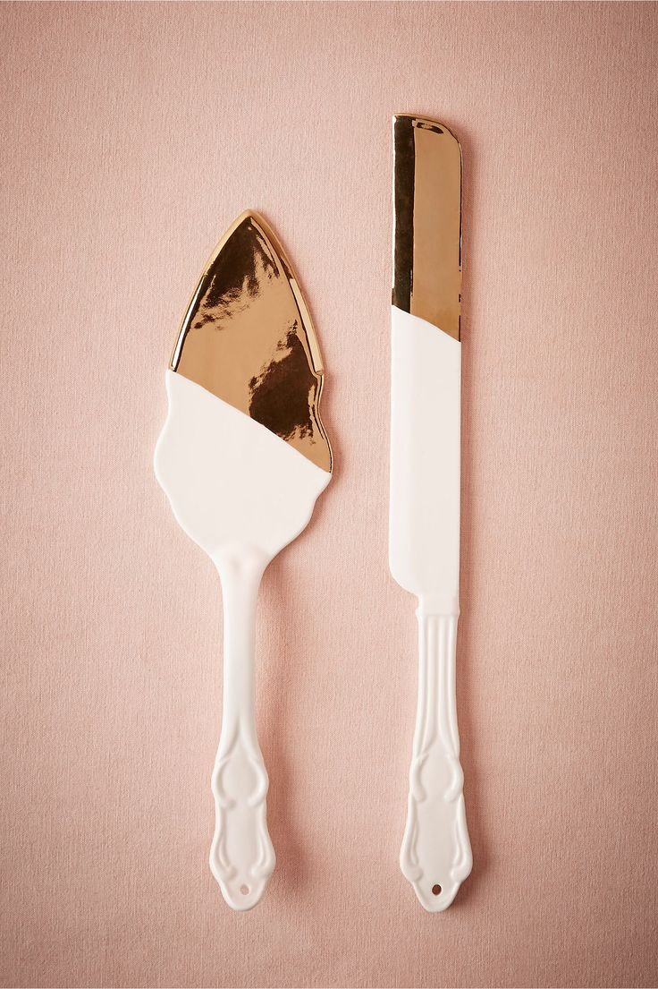 BHLDN Gold-Dipped Porcelain Cake Serving Set in  Décor Cake Accessories at BHLDN