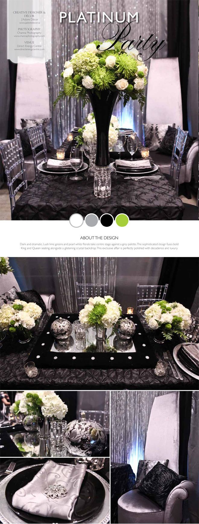 Elegant Tablescape using Tall Black Vase with green and white floral arrangement, Silver Mint Julep Cups, and Silver Charger Plates. #VesselsAndVases #GussyUpTheJulepCup #DelicateDiningDecorations