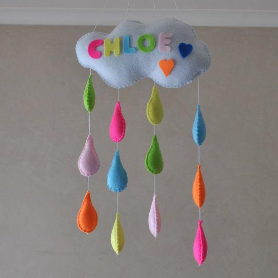 Rain Rain go away, with the name of your child.   Raindrop mobile by RazzleDazzle4U on Etsy, $65.00