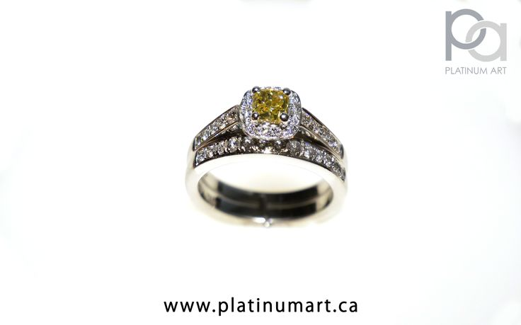 Brilliant Yellow Diamond Stacked ring. This stacked Ring combination features a beautiful 0.26 ct Fancy Yellow Diamond and total diamond weight of 0.64 ct on just the first ring. The second ring, underneath has a total weight of.26 ct.  Call for Prices  1+844-787-7348