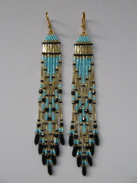 Seed Bead Native American Style Earrings  Ocean Wave by pattimacs, $21.00