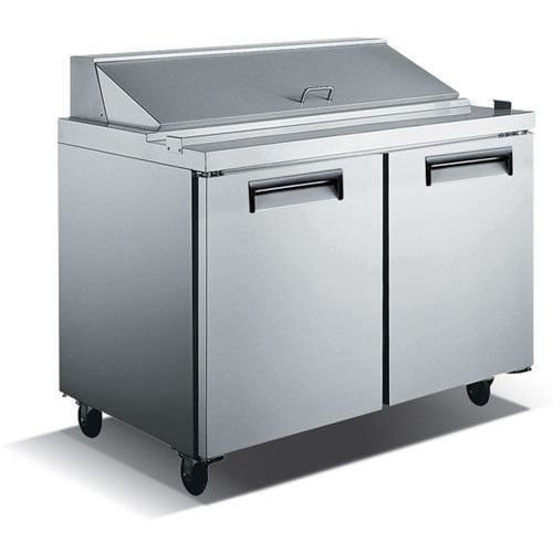 Commercial Stainless Steel Refrigerated Salad/Sandwich Prep Table – 2 Door, 48″