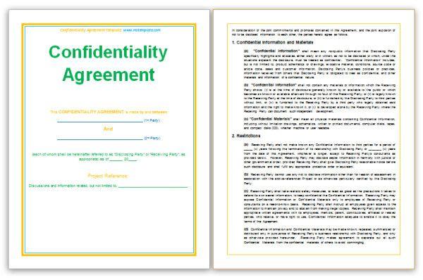 httpmstemplateconfidentialityagreementtemplatehtml – Free Business Agreement Template