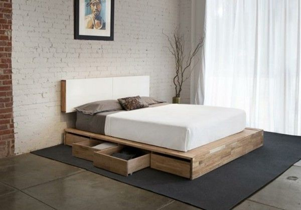 simple bedroom furniture with wooden platform bed frame queen large dark grey rug under bed. Black Bedroom Furniture Sets. Home Design Ideas