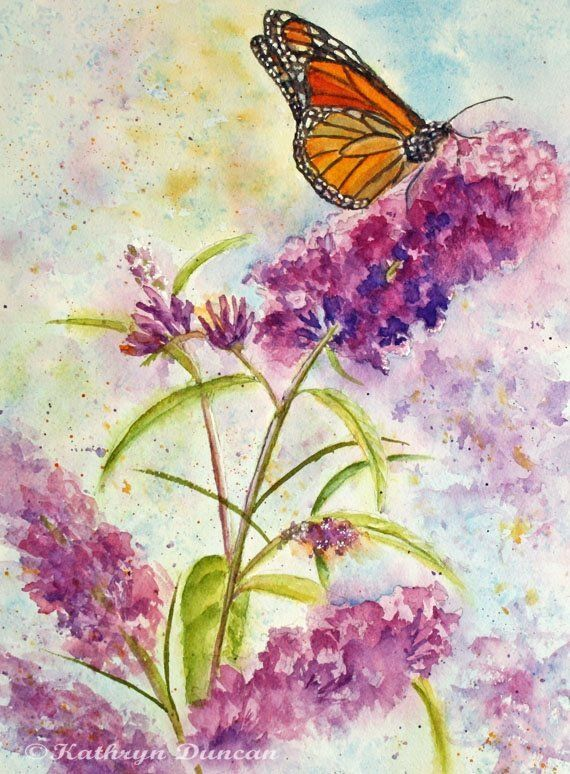 Monarch Butterfly In Purple Butterfly Bush Original Watercolor