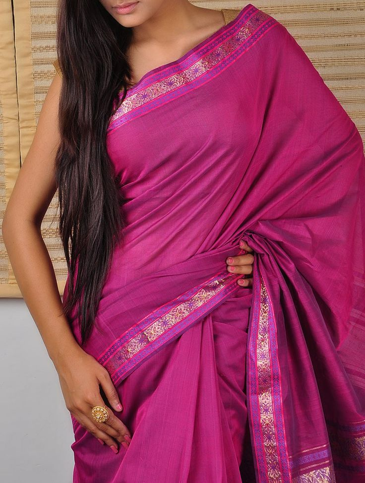 Purple Saree with Floral Border - organic cotton, maybe a bit too informal