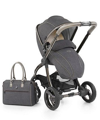 The new and exclusive egg® stroller in grey pewter has been finished in soft fabrics and smooth curves for a luxurious look. This set includes a coordinating changing bag to smarten up the school run.