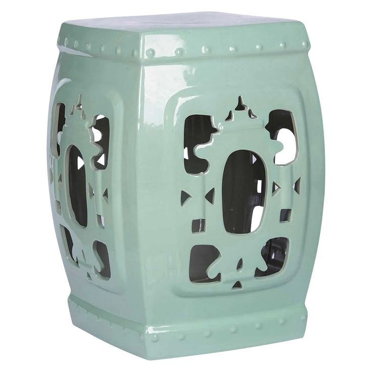 Asian Ornate Glazed Ceramic Garden Stool - Robbins Egg - Abbyson