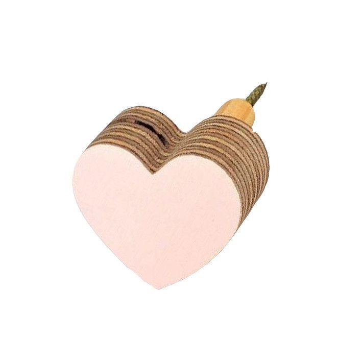 The Hook Co. Little Wooden Heart Hook - Palest Pink