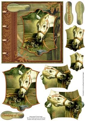 HORSE KITTENS Card Topper Pyramage on Craftsuprint designed by Janet Briggs - Quick card topper with pyramage layers for added depth.Features lovely painting of a horse and kittens in the stable.Suitable for a variety of occasions.Several sentiment tags include one blank.The others read,Happy BirthdayThinking of You - Now available for download!