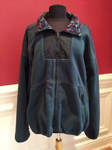 Columbia Womens Fleece Jacket XL Green With Contrasting Collar    eBay