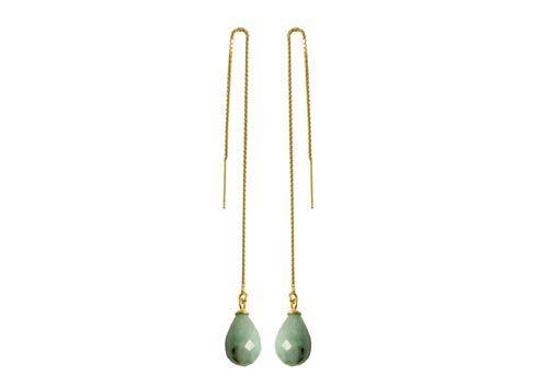Øekæder med Aquamarin - Til disse øreringe er der brugt følgende materialer:  2 stk. anboret dråbe, facetteret aquamarin 2 stk. forgyldt stiftøsken med skål 2 stk. forgyldt ørekæde med øje 12cm + lim