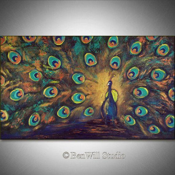 PAON Art peinture coloré ORIGINAL grande  métallisé or par benwill, $340.00
