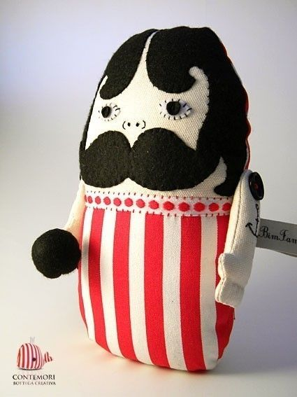 L'uomo Forzuto - The Circus Strongman - Softie Sculpture (home decor, pillow, stuffed animal, circus, person, doll, toy, black, white, red)