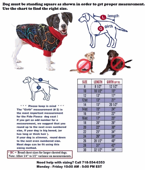 Size Chart Fido Fleece Dog Coats Fido Fleece Dog Coats