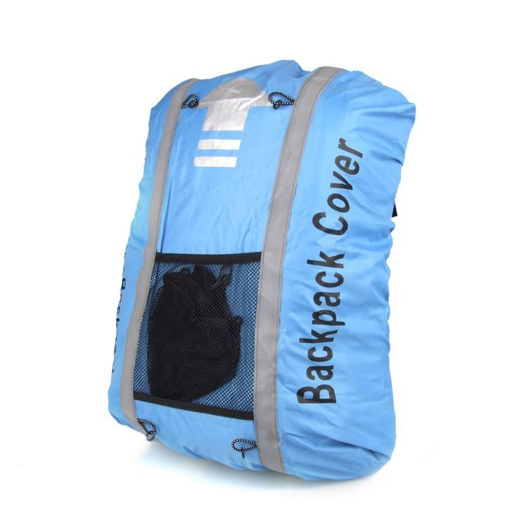 Sun Moon 25L-40L Waterproof Reflective Backpack Rucksack Cover for Hiking Camping Traveling Blue. Reflective stripes provide high visibility. High-quality, waterproof backpack cover - strong and lightweight to help make you visible and keep your backpack dry. Perfect for the avid adventurer. Suitable for camping, traveling, climbing, riding etc. Suitable for most 25-40 liter backpacks or pannier bags.