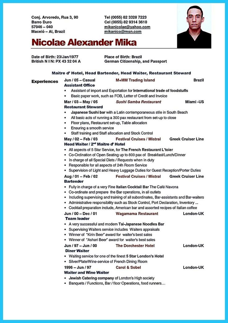awesome Excellent Ways to Make Great Bartender Resume Template, Check more at http://snefci.org/excellent-ways-to-make-great-bartender-resume-template