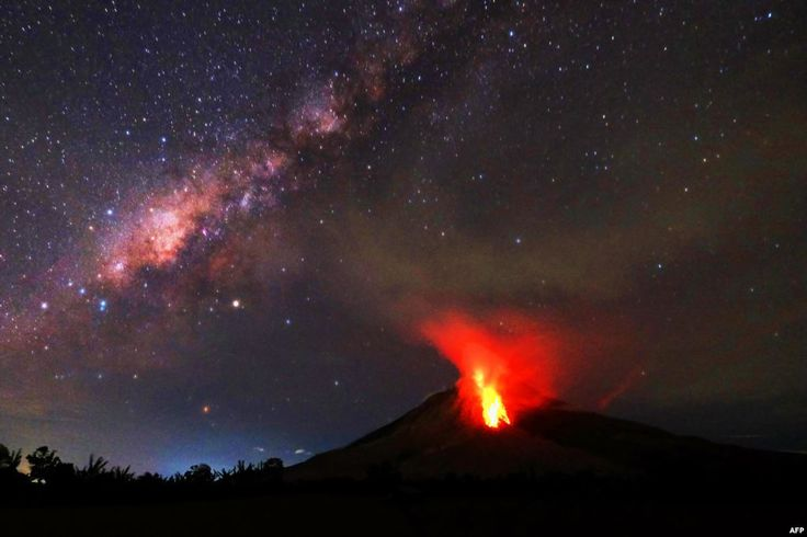 Hot lava flows down the Mount Sinabung volcano in Karo, North Sumatra, Indonesia.