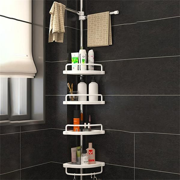 Bathroom Adjustable Telescopic Pole Pull Bar Stainless Corner Shelf Rockcoo Shelves Bathroom Corner Rack Rockcoo