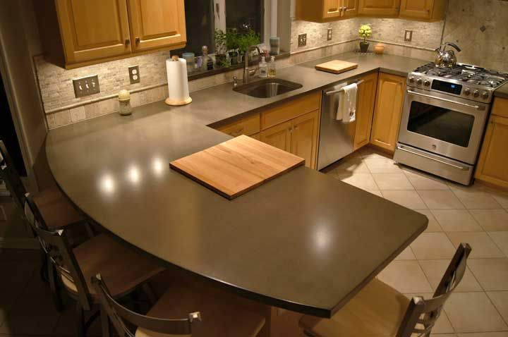 kitchen ideas with acid concrete | gray concrete countertop with subtle variegated pattern 8 images acid ...