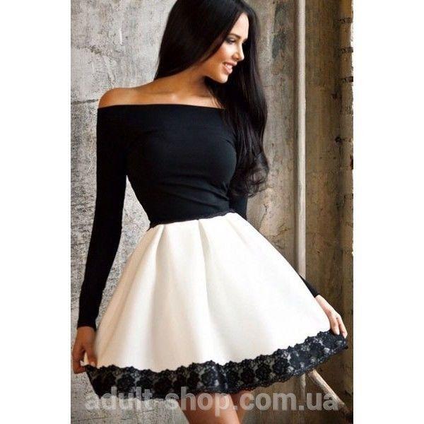 Черно-белое платье с открытыми плечами