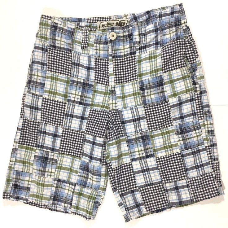 Blue Patchwork Plaid Mens Shorts Size 34 Urban Pipeline Green Madras Flat  Front