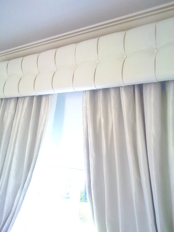 Leather Pelmet and Silk Curtains