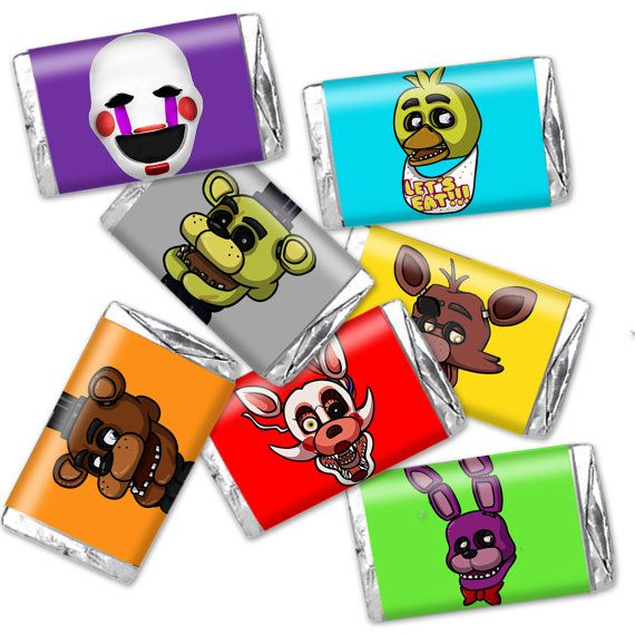 FNAF Mini Candy Wrappers colored Five Nights at Freddies Friends fits mini Hershey's bars