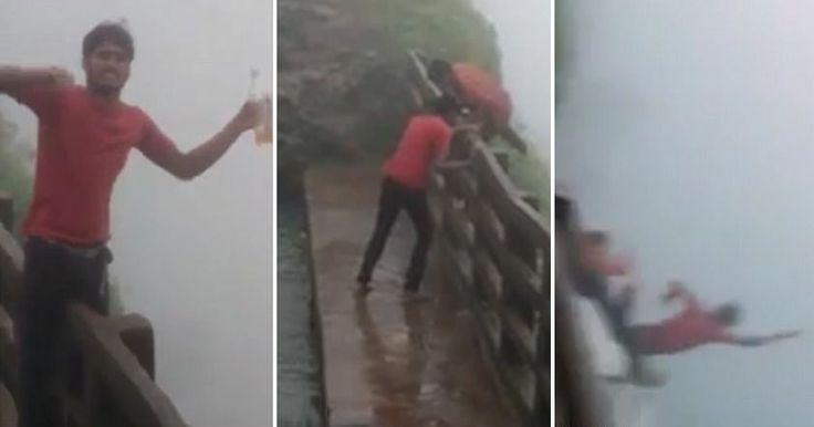 Два пьяных туриста в шутку переползли через барьеры безопасности возле водопада в Амболи, и сорвались с 30-метровой высоты.