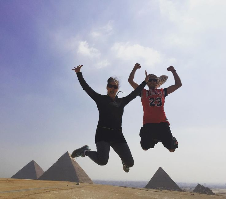 There are 9 pyramids in Giza of the 91 total in Egypt. It took 150000 workers (not slaves as they were paid by the king) 20 years to build one pyramid 455 foot high with 3million blocks so big that you can fit St Peters cathedral inside of it so that we could take this jumping photo. My hops are bigger than I thought #giza #pyramids #egypt #hops by pattyrogers