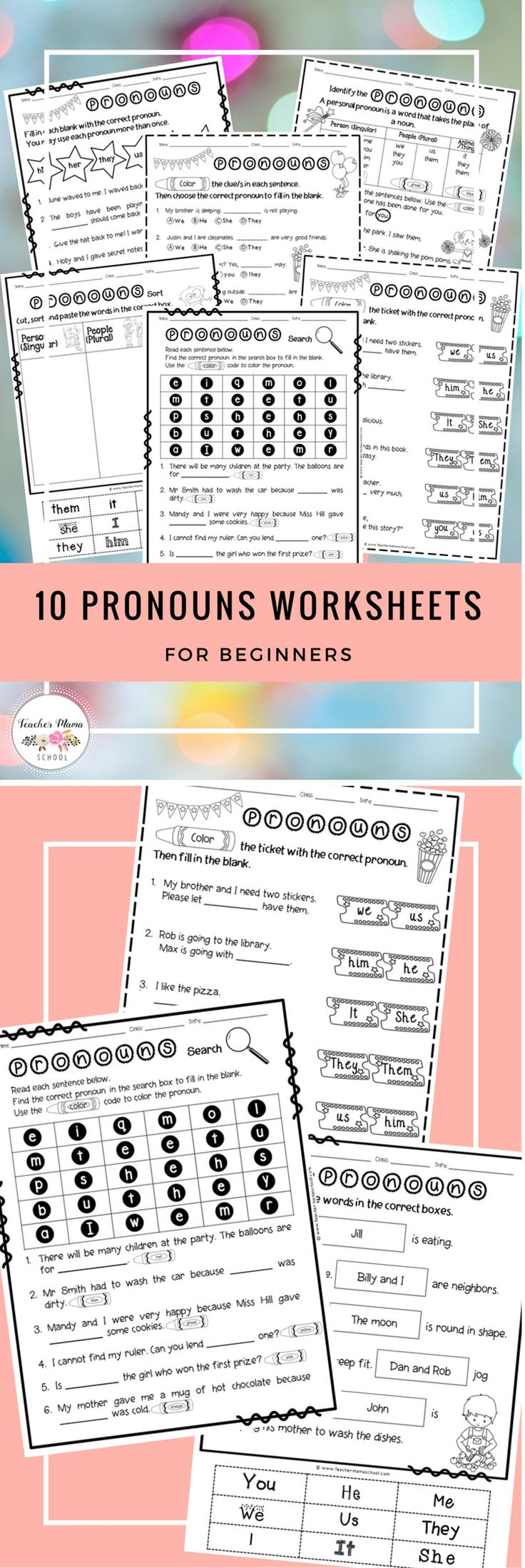 A set of 10 PERSONAL PRONOUNS worksheets which are suitable for beginners and are appealing to the younger learners aged between 6 to 8 years old. It includes a variety of worksheet types.
