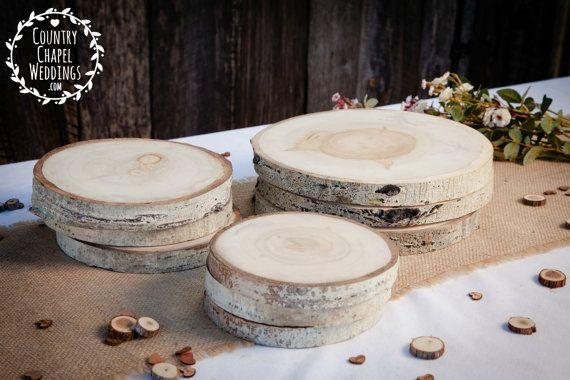 Peuplier faux-tremble arbre tranche - 6 à 7 pouces -.75 pouce d'épaisseur - décor rustique de mariage, Cake Stand, chargeur, pièce de mariage, bois dalle