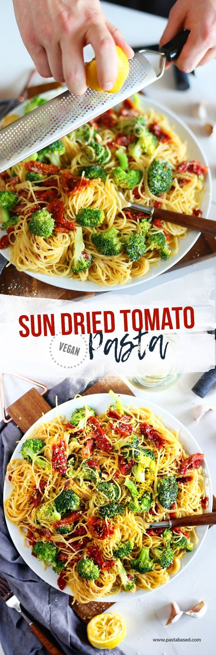 Vegan. This sun dried tomato pasta by Pasta-based is cooked in a light, brothy, white wine sauce. Tossed in angel hair pasta, broccoli florets, and topped with lemon zest.
