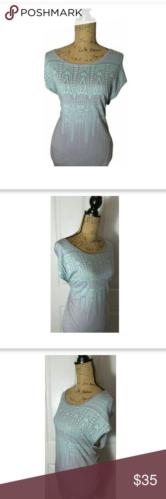 CAbi #353 Tribal Aztec Top Size M CAbi Style #353 - Mint Green / Gray - Tribal Aztec - Blouse Top - Size Medium  Cute top stretchy and very comfortable. CAbi Tops Tees - Short Sleeve