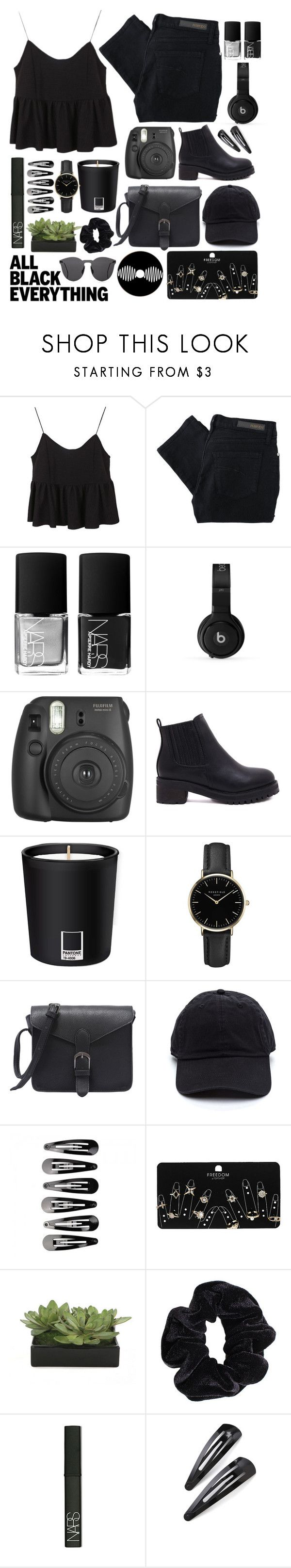 """""""Monochrome: All Black Everything"""" by voidelle ❤ liked on Polyvore featuring Nobody Denim, NARS Cosmetics, Beats by Dr. Dre, Fujifilm, Pantone, ROSEFIELD, Topshop, Lux-Art Silks, American Apparel and Adia Kibur"""