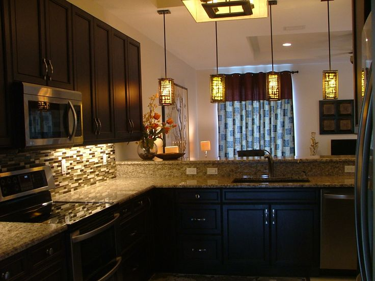 Stone Kitchen Backsplash Dark Cabinets