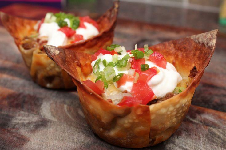 Mini Taco Cups #Beef #Salsa #Cheese #WontonWrappers #MuffinPan
