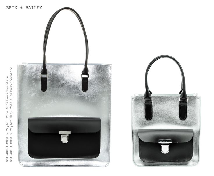 Brix + Bailey Large + Mini Taylor Leather Totes - Silver/Chocolate - Made in England - www.brixbailey.com