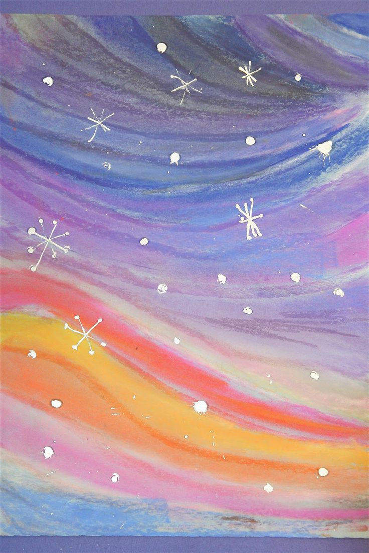 Winter Landscapes are created on Splish Splash Splatter by first using chalk pastels and then adding the snowflakes with a silver metallic marker. These were upper elementary students, but kindergarten children could create something just as striking.