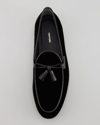 Orson Black Velvet Tassel Loafer, by Tom Ford,  via Neiman Marcus. Men's Fall Winter Fashion.