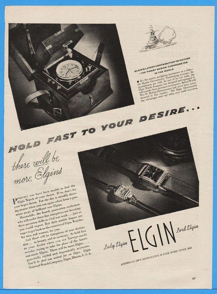 1945 Elgin Watch Ad Marine Chronometer Lord Lady Beginning Production Post WWII | eBay