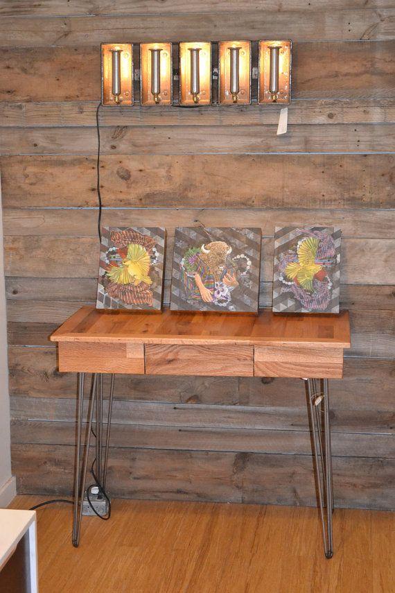 Reclaimed Oak Desk with Hairpin Legs & Hidden Drawer on Etsy, $603.45 CAD