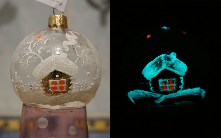 Очень легко сделать обычный стеклянный шар необыкновенно сказочным! Светящаяся краска Acmelight Interior легко наносится, не имеет запаха -можно заниматься творчеством вместе с детьми)))  Сделайте Ваш Новый год незабываемым!