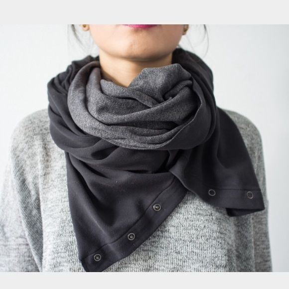 Lululemon grey & black infinity scarf reversible First pic is to show style of scarf on the model. Second is the picture of the scarf I'm selling. Worn once, comes from non smoking home. The reversible side is solid black lululemon athletica Accessories Scarves & Wraps