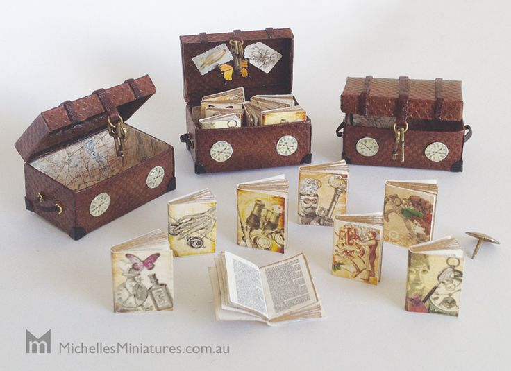 Miniature Steam Punk inspired 'Time Travellers Trunk with 8 Books'.  All the books have double sided printed pages and antique gold edging.