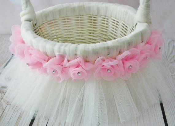 Ivory and pink tutu flower basket  ivory by ForeverSweethearts, $30.00
