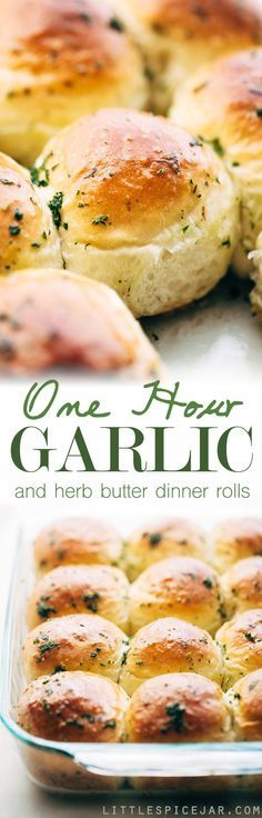 One Hour Garlic Herb Dinner Rolls - Fluffy and tender dinner rolls that are topped with an amazing garlic butter to give you the most flavor dinner rolls of your life! #garlicbutterrolls #onehourdinnerrolls #dinnerrolls   Littlespicejar.com
