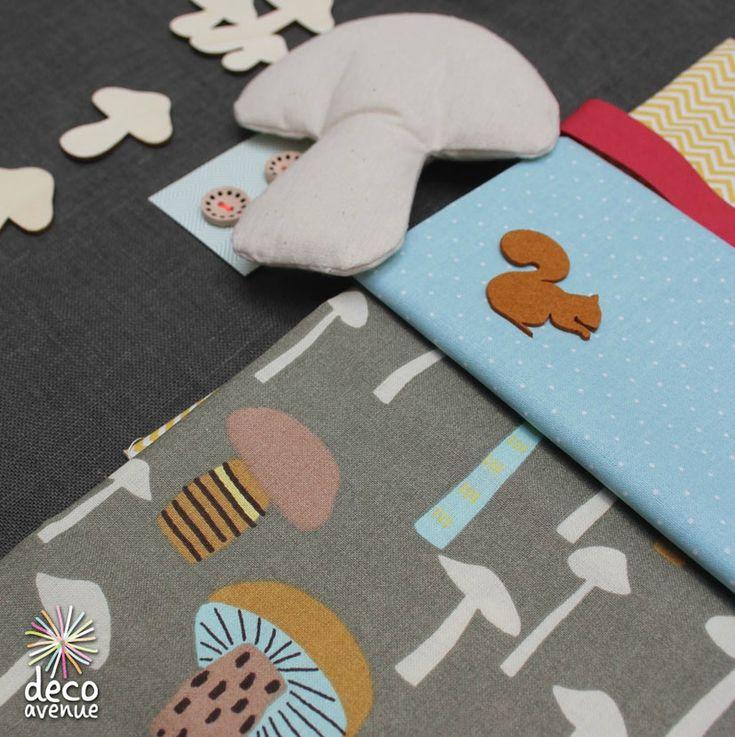 du lin gris antracite, des champignon en bois de chez Artemio, un champignon de la patchwork familly de chez Rico Design, un tissu motifs champignons Rico Design. Chez Deco avenue