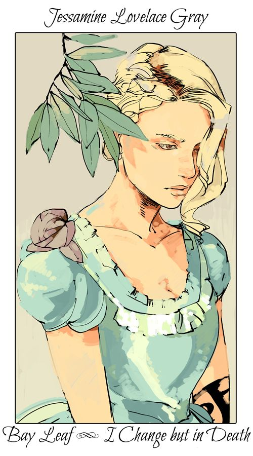 Jessamine with a bay leaf - last of the TID flower cards (picked by C.Clare, art by C.Jean)