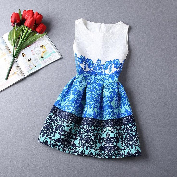 Summer Dress 2015 Dresses For Girls of 12 years old costumes for kids children dressed top quality pattern floral cheap children(China (Mainland))